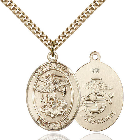 St. Michael / Marines Pendant  14kt Gold Filled 1""