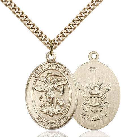 St. Michael / Navy Pendant  14kt Gold Filled 1""