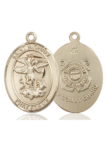 St. Michael / Coast Guard Pendant  14kt Gold 1""