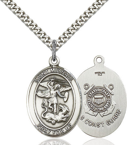 St. Michael / Coast Guard Pendant  Sterling Silver 1""