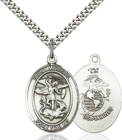St. Michael / Marines Pendant  Sterling Silver 1""