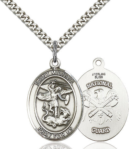 St. Michael / Nat'l Guard Pendant  Sterling Silver 1""