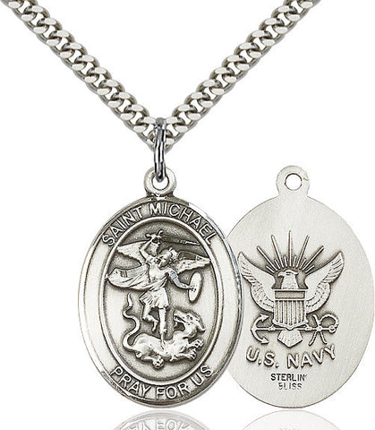 St. Michael / Navy Pendant  Sterling Silver 1""