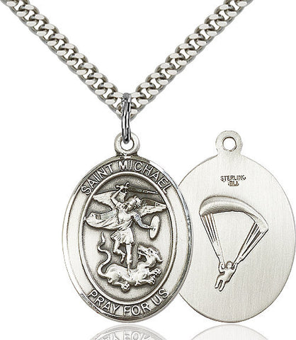 St. Michael / Paratrooper Pendant  Sterling Silver 1""
