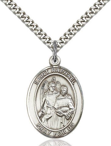 St. Raphael The Archangel Pendant  Sterling Silver 1""