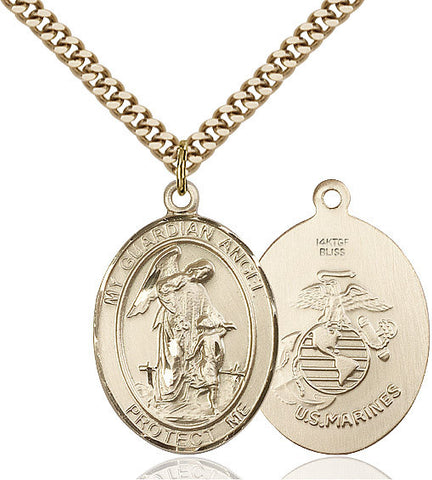 Guardian Angel / Marine Corp Pendant  14kt Gold Filled 1""