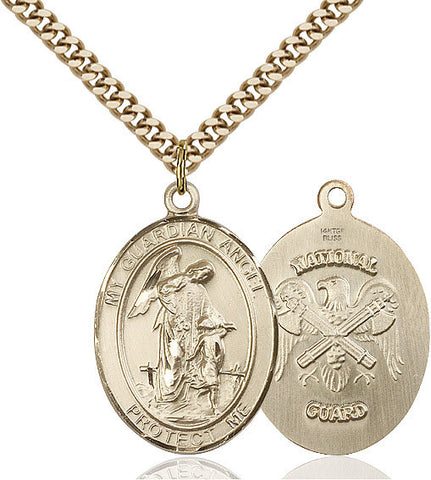 Guardian Angel / Nat'l Guard Pendant  14kt Gold Filled 1""
