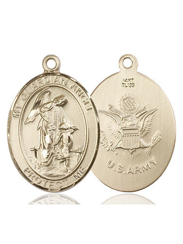 Guardian Angel / Army Pendant  14kt Gold 1""