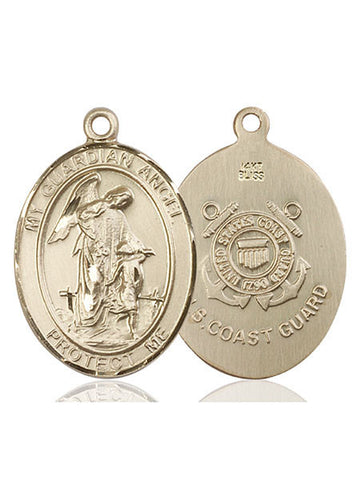 Guardian Angel / Coast Guard Pendant  14kt Gold 1""