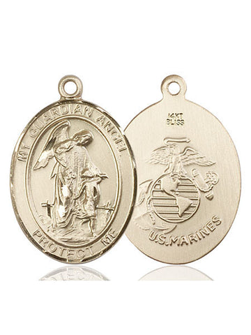Guardian Angel / Marine Corp Pendant  14kt Gold 1""
