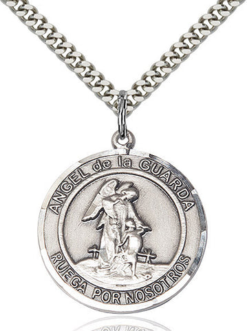Angel De La Guardia Pendant  Sterling Silver 1""