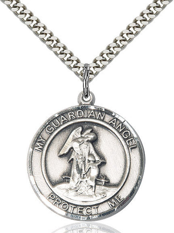 "Guardian Angel  Sterling Silver 1"" - Discount Catholic Store"