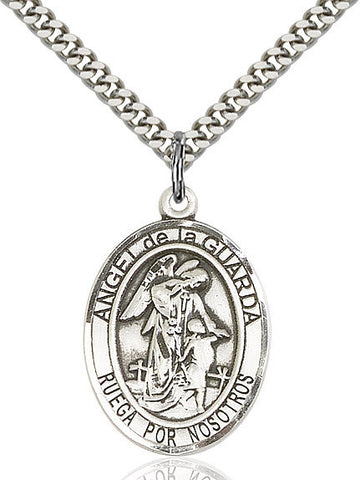 Angel De La Guarda Pendant  Sterling Silver 1""