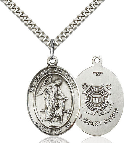 Guardian Angel / Coast Guard Pendant  Sterling Silver 1""