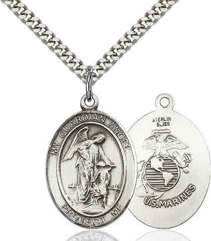 Guardian Angel / Marine Corp Pendant  Sterling Silver 1""