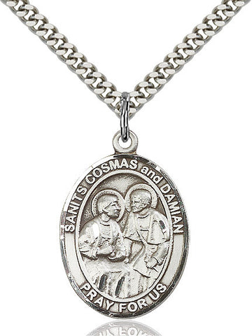 Sts. Cosmas & Damian Sterling Silver 1""