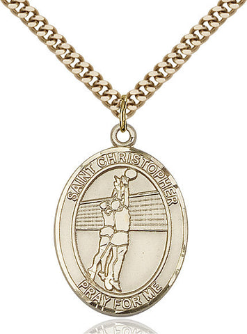 St. Christopher / Volleyball Pendant  14kt Gold Filled 1""