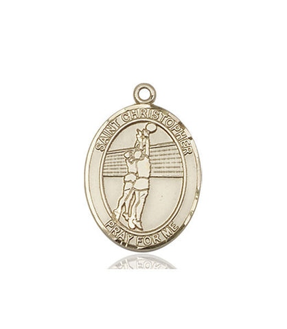 St. Christopher / Volleyball Pendant  14kt Gold 1""