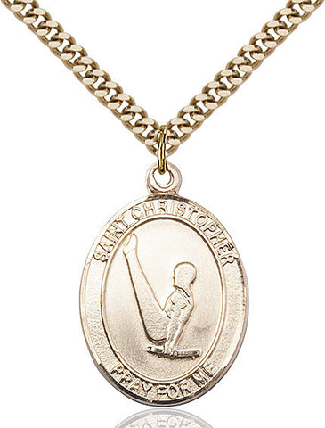 St. Christopher / Gymnastics Pendant  14kt Gold Filled 1""
