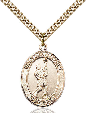 St. Christopher / Lacrosse Pendant  14kt Gold Filled 1""
