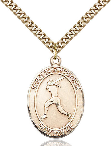St. Christopher / Softball Pendant  14kt Gold Filled 1""