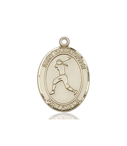 St. Christopher / Softball Pendant  14kt Gold 1""