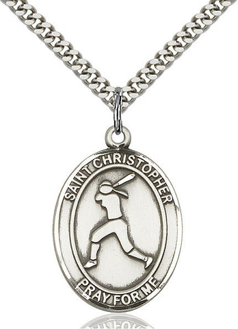 St. Christopher /  Softball Pendant  Sterling Silver 1""