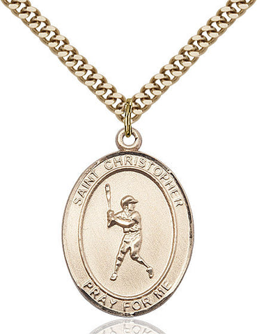 "St. Christopher / Baseball  14kt Gold Filled 1"" - Discount Catholic Store"