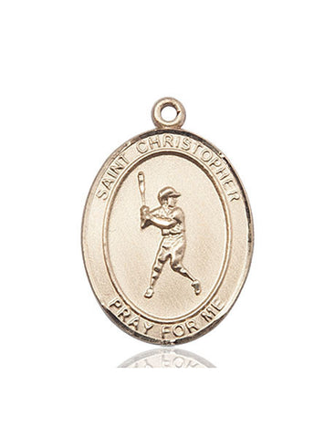 "St. Christopher / Baseball  14kt Gold 1"" - Discount Catholic Store"