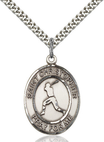 "St. Christopher / Baseball  Sterling Silver 1"" - Discount Catholic Store"