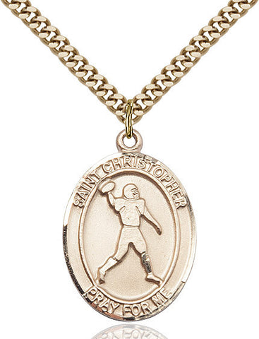 St. Christopher / Football Pendant  14kt Gold Filled 1""
