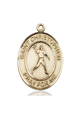 "St. Christopher / Football  14kt Gold 1"" - Discount Catholic Store"