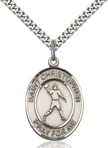 "St. Christopher / Football  Sterling Silver 1"" - Discount Catholic Store"
