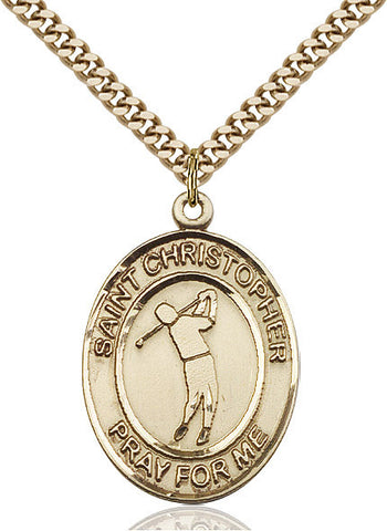 St. Christopher / Golf Pendant  14kt Gold Filled 1""