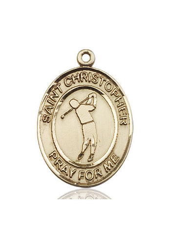 St. Christopher / Golf Pendant  14kt Gold 1""