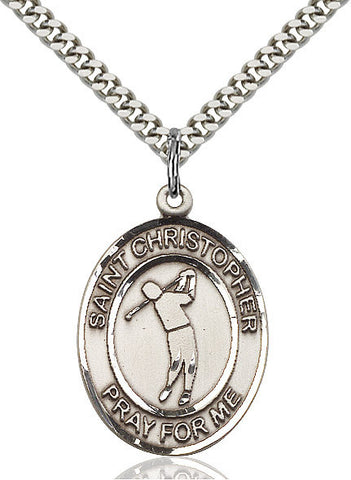 St. Christopher / Golf Pendant  Sterling Silver 1""