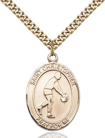 St. Christopher / Basketball Pendant  14kt Gold Filled 1""