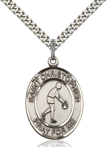 St. Christopher / Basketball Pendant  Sterling Silver 1""