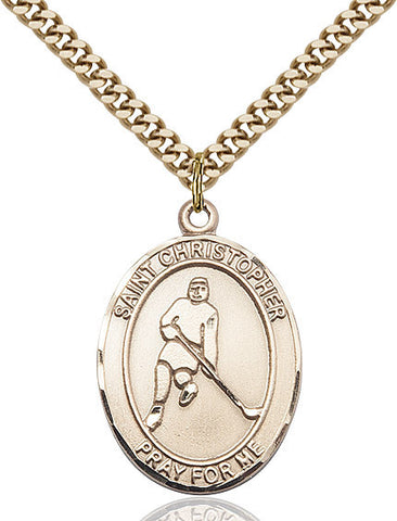 "St. Christopher / Ice Hockey  14kt Gold Filled 1"" - Discount Catholic Store"