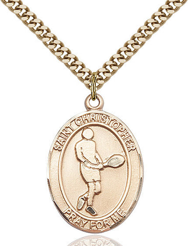 St. Christopher / Tennis Pendant  14kt Gold Filled 1""