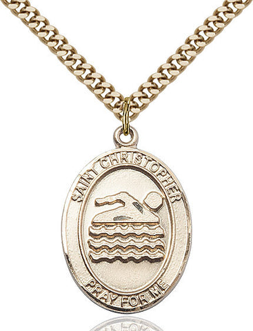 "St. Christopher / Swimming  14kt Gold Filled 1"" - Discount Catholic Store"