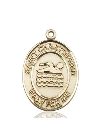 St. Christopher / Swimming Pendant  14kt Gold 1""