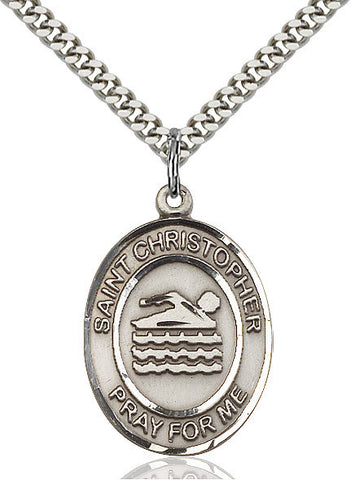 St. Christopher / Swimming Pendant  Sterling Silver 1""