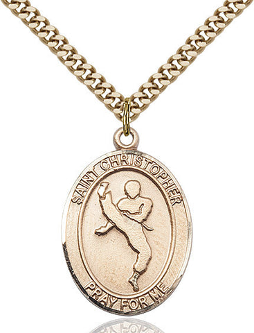 St. Christopher / Martial Arts Pendant  14kt Gold Filled 1""