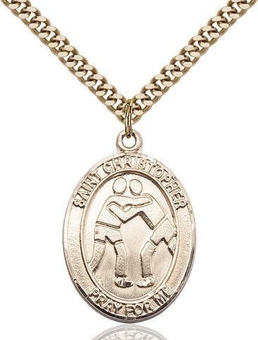 St. Christopher / Wrestling Pendant  14kt Gold Filled 1""