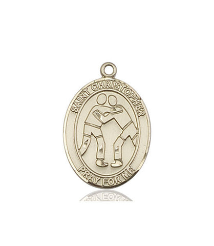 "St. Christopher / Wrestling  14kt Gold 1"" - Discount Catholic Store"