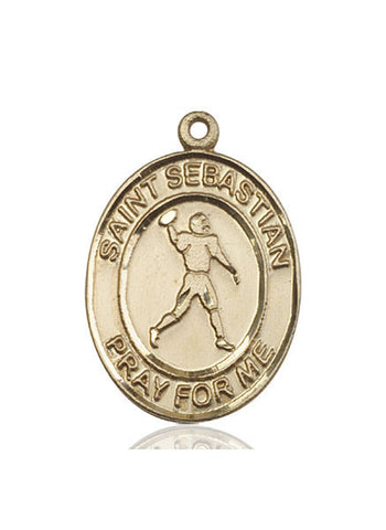 "St. Sebastian / Football  14kt Gold 1"" - Discount Catholic Store"