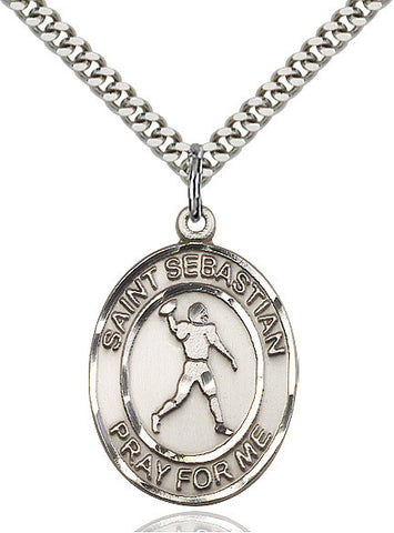 "St. Sebastian / Football  Sterling Silver 1"" - Discount Catholic Store"