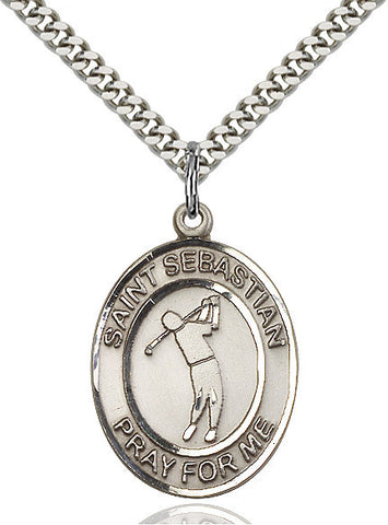 "St. Sebastian / Golf  Sterling Silver 1"" - Discount Catholic Store"