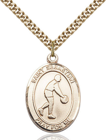 "St. Sebastian / Basketball  14kt Gold Filled 1"" - Discount Catholic Store"